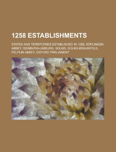 1258 Establishments: States and Territories Established in: Books, LLC