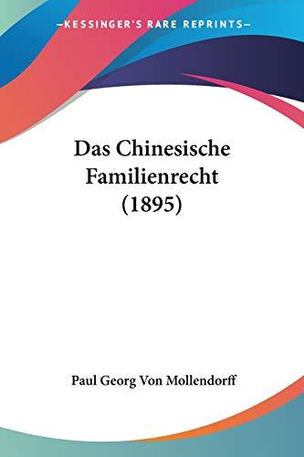 9781160357883: Das Chinesische Familienrecht (1895)