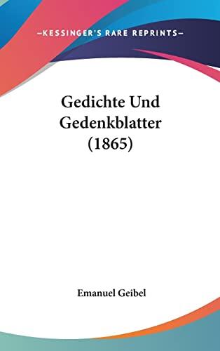 9781161300147 Gedichte Und Gedenkblatter 1865 German