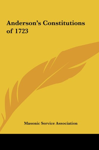9781161357202: Anderson's Constitutions of 1723