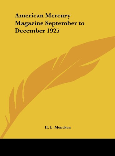 9781161393835: American Mercury Magazine September to December 1925