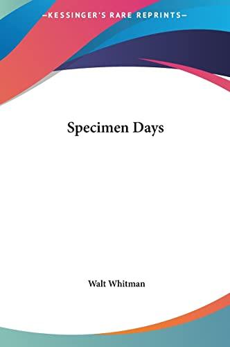 9781161453614: Specimen Days