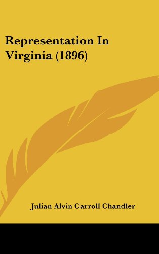 9781161750331: Representation In Virginia (1896)