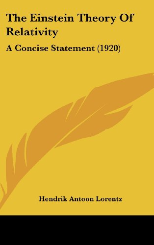 9781161940169: The Einstein Theory Of Relativity: A Concise Statement (1920)