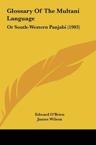 9781162096858: Glossary Of The Multani Language: Or South-Western Panjabi (1903)