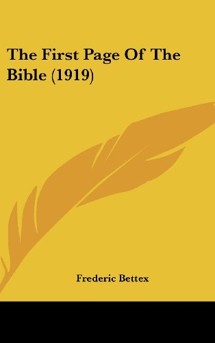 9781162254852: The First Page of the Bible (1919)