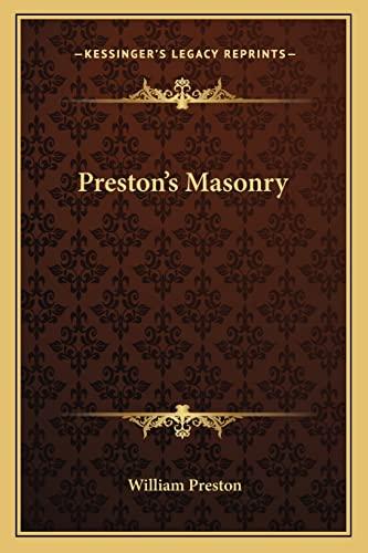 9781162569130: Preston's Masonry