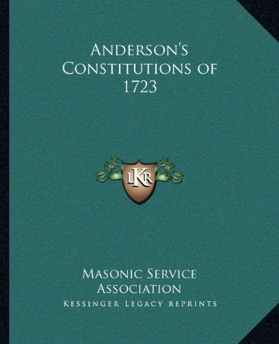 9781162569222: Anderson's Constitutions of 1723