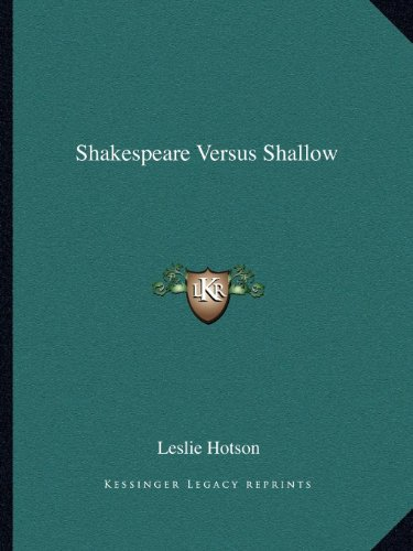 9781162591476: Shakespeare Versus Shallow