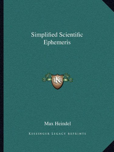 9781162594330: Simplified Scientific Ephemeris