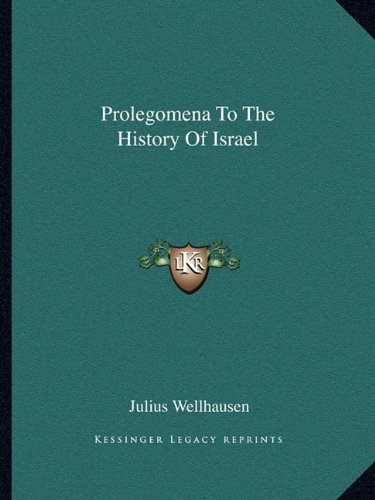 9781162681030: Prolegomena to the History of Israel