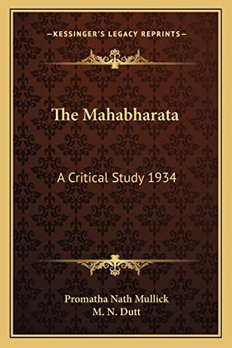 9781162739311: The Mahabharata: A Critical Study 1934