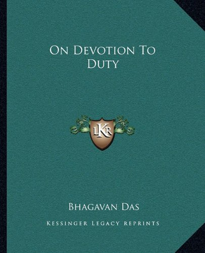 9781162873176: On Devotion to Duty