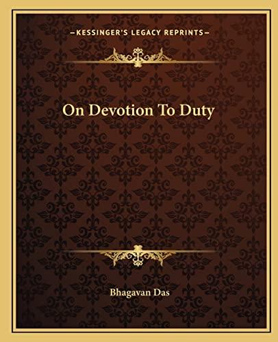 9781162873176: On Devotion to Duty