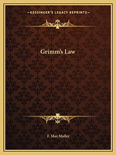 9781162890548: Grimm's Law