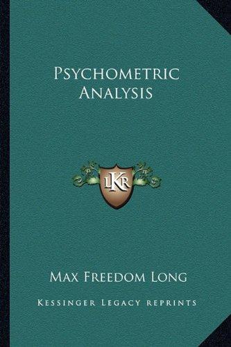 9781162922461: Psychometric Analysis