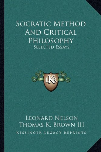 9781163160091: Socratic Method And Critical Philosophy: Selected Essays