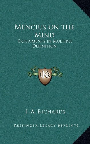 9781163205334: Mencius on the Mind: Experiments in Multiple Definition