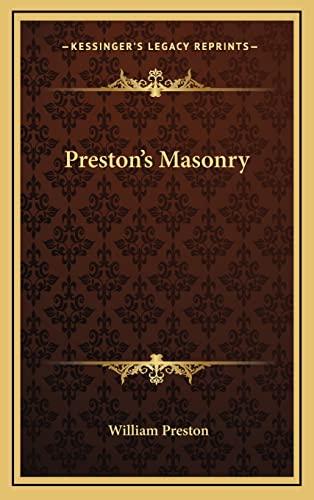 9781163312919: Preston's Masonry