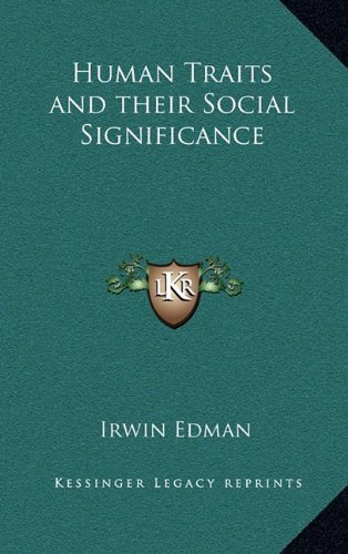 9781163372159: Human Traits and their Social Significance