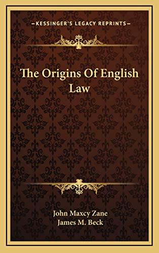 9781163388112: The Origins Of English Law