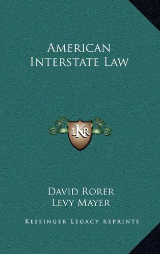 9781163649220: American Interstate Law