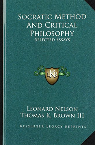 9781164491033: Socratic Method And Critical Philosophy: Selected Essays