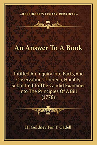 An Answer to a Book Intitled an: H. Goldney For