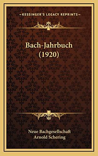 9781165363254: Bach-Jahrbuch (1920) Bach-Jahrbuch (1920)