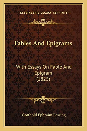 9781166034092: Fables And Epigrams: With Essays On Fable And Epigram (1825)