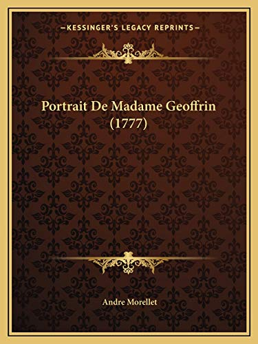 9781166146559: Portrait De Madame Geoffrin (1777) (French Edition)