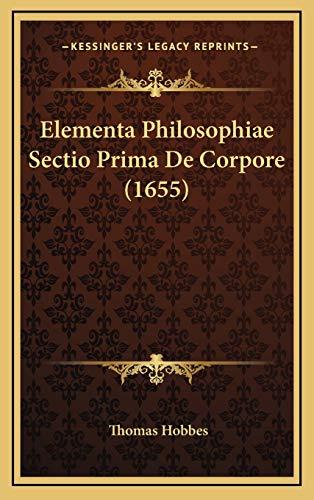 9781166242190: Elementa Philosophiae Sectio Prima de Corpore (1655)
