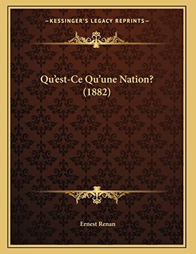 9781167350214: Qu'est-Ce Qu'une Nation? (1882)