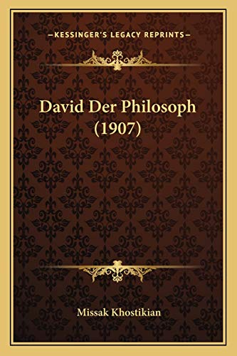 9781167433429: David Der Philosoph (1907) (German Edition)