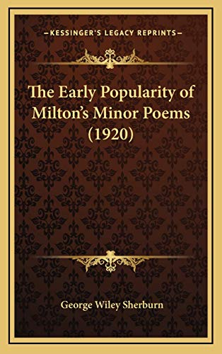 9781168695833: Early Popularity Of Milton's Minor Poems (1920)