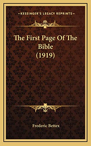 9781169026209: The First Page of the Bible (1919)