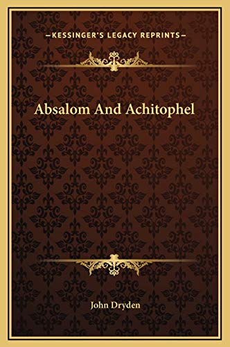 9781169187412: Absalom And Achitophel