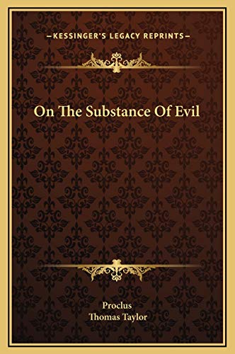 9781169244405: On the Substance of Evil