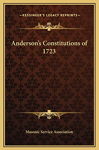 9781169254350: Anderson's Constitutions of 1723