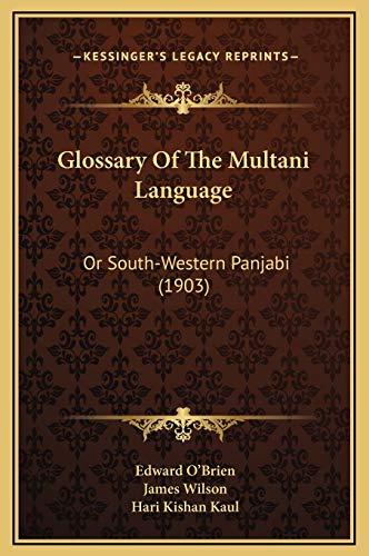 9781169331112: Glossary Of The Multani Language: Or South-Western Panjabi (1903)