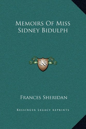 9781169339101: Memoirs Of Miss Sidney Bidulph