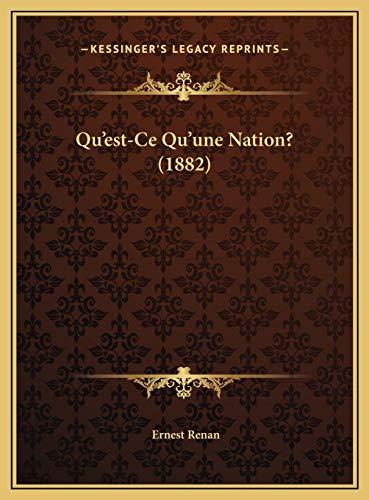 9781169545410: Qu'est-Ce Qu'une Nation? (1882)