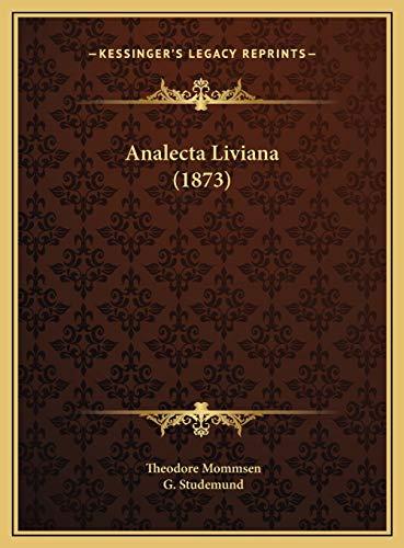 9781169681491: Analecta Liviana (1873) (Latin Edition)