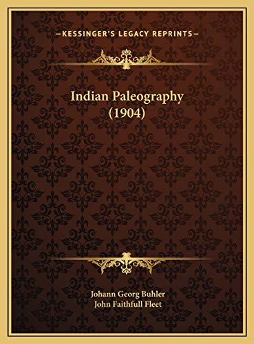 Indian Paleography (1904) Buhler, Johann Georg and