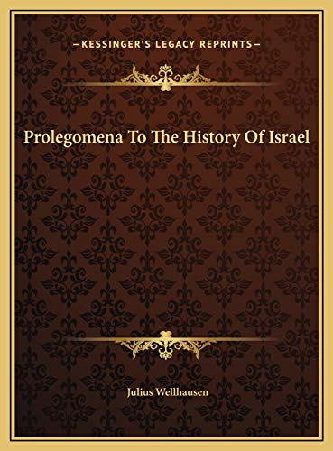 9781169776272: Prolegomena To The History Of Israel