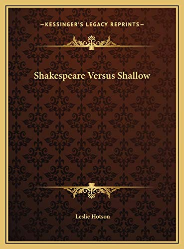9781169783867: Shakespeare Versus Shallow
