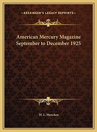 9781169804005: American Mercury Magazine September to December 1925