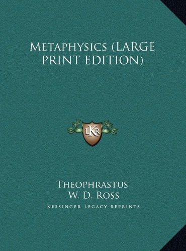 9781169957619: Metaphysics (LARGE PRINT EDITION)
