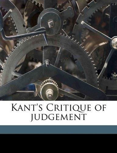 Kant's Critique of judgement (9781171700852) by Kant, Immanuel; Bernard, J H. 1860-1927