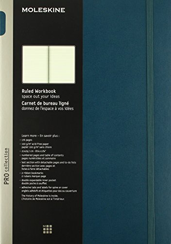 9781223115627: Moleskine Pro Collection Workbook: A4, Ruled, Tide Green
